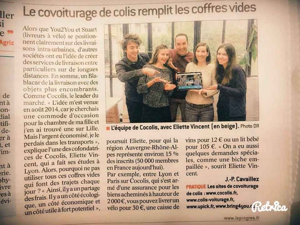 Le covoiturage de colis, alternative transporteur pas cher. Article sur Le Progrès de Lyon, citant Cocolis, Colis-Voiturage, Bring4you